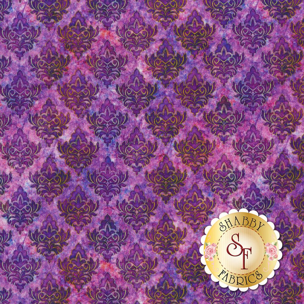 Purple tiled damasks on a mottled purple background | Shabby Fabrics