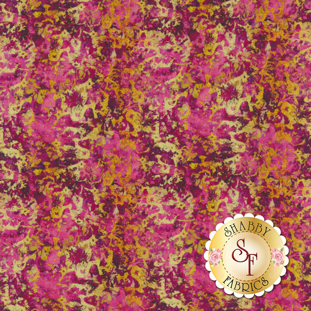 Yellow gold texture on a pink mottled background | Shabby Fabrics