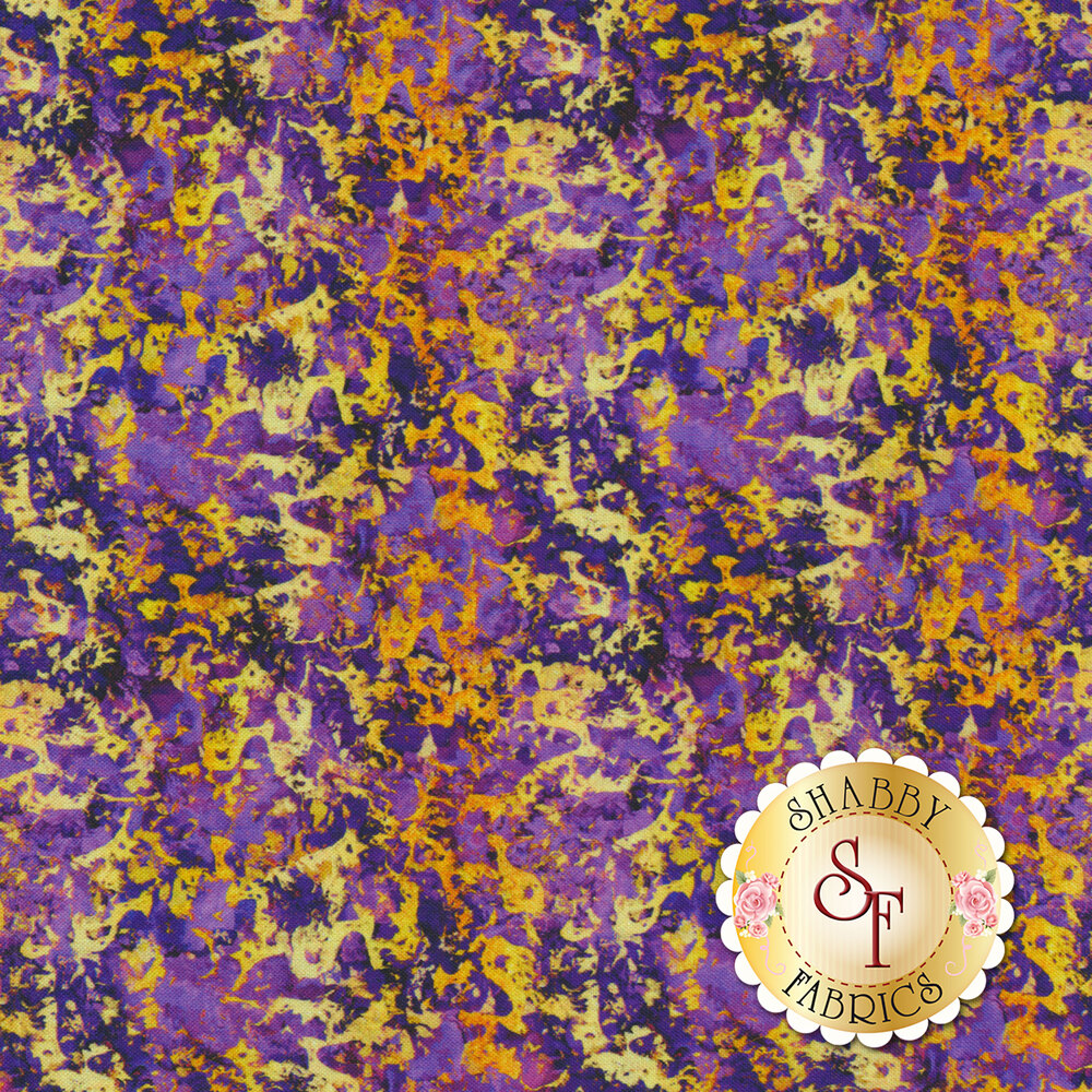 Yellow gold texture on a dark purple mottled background | Shabby Fabrics