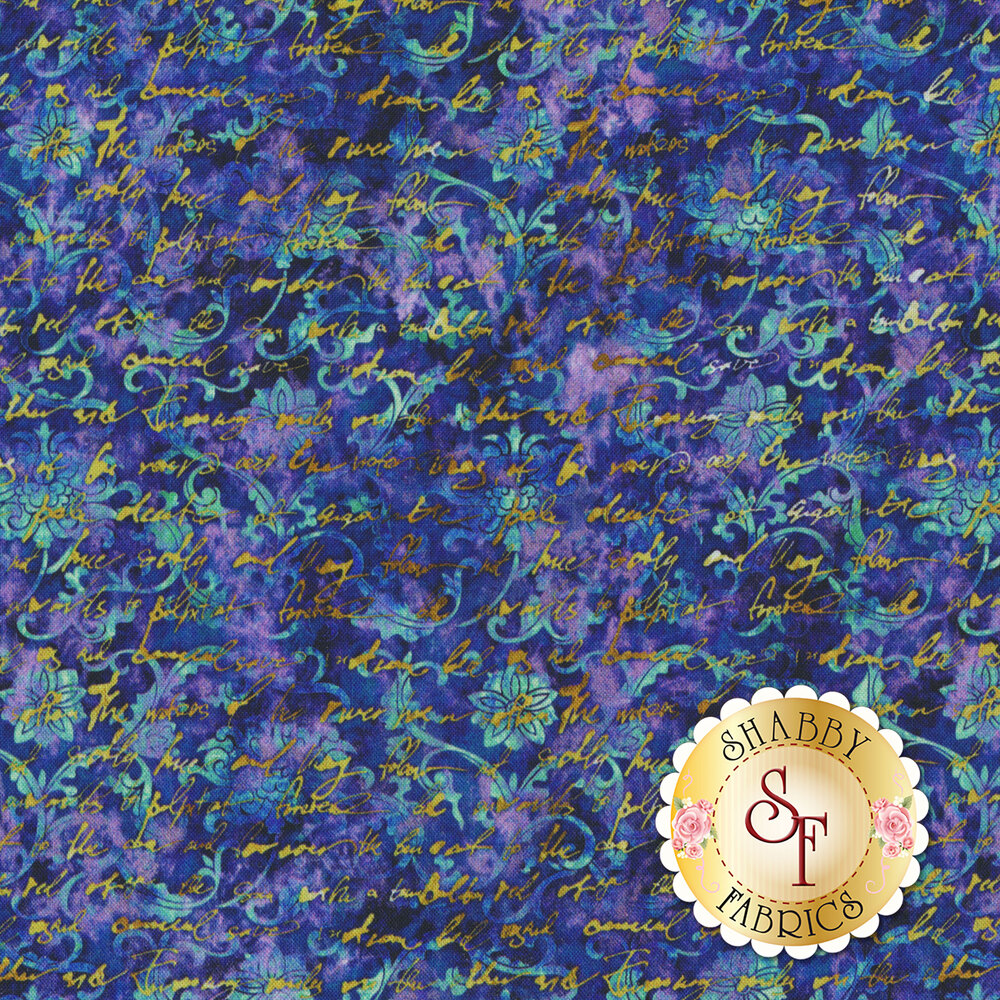 Yellow cursive writing on aqua swirls and floral designs on a dark blue mottled background