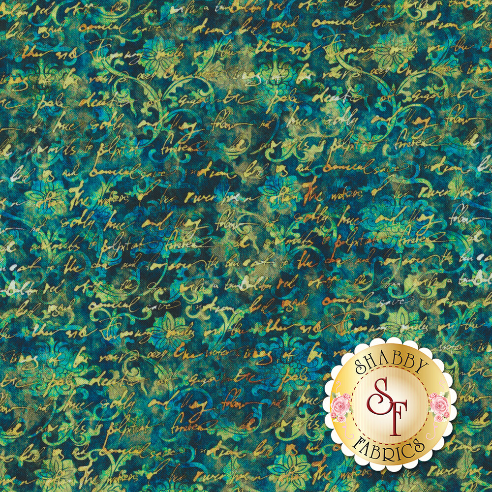 Yellow cursive writing over mottled aqua swirls and floral designs on a dark teal background