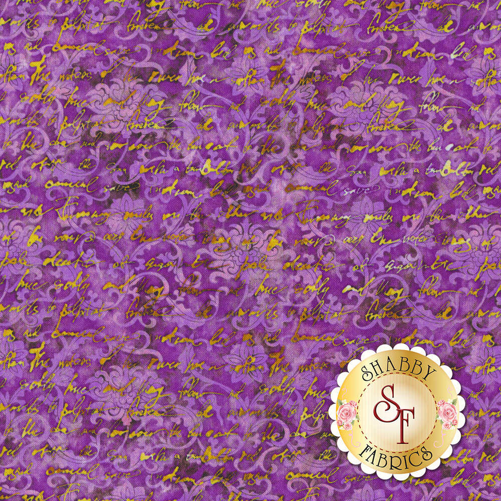 Yellow cursive writing over light purple swirls and floral designs on mottled dark purple background