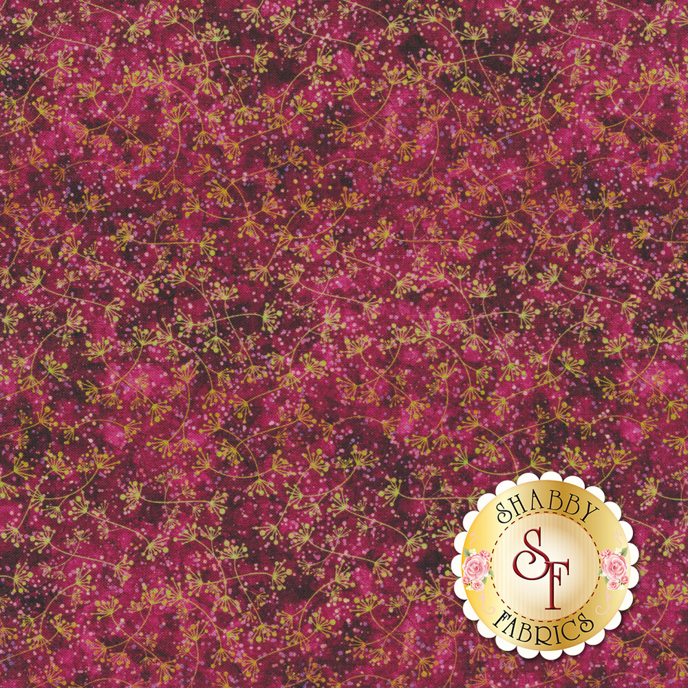 Light yellow branching lines with light pink dots on a dark pink mottled background