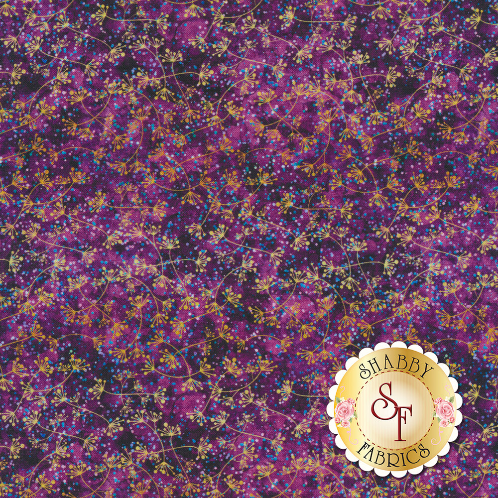 Yellow branching flowers with blue dots on a dark purple mottled background