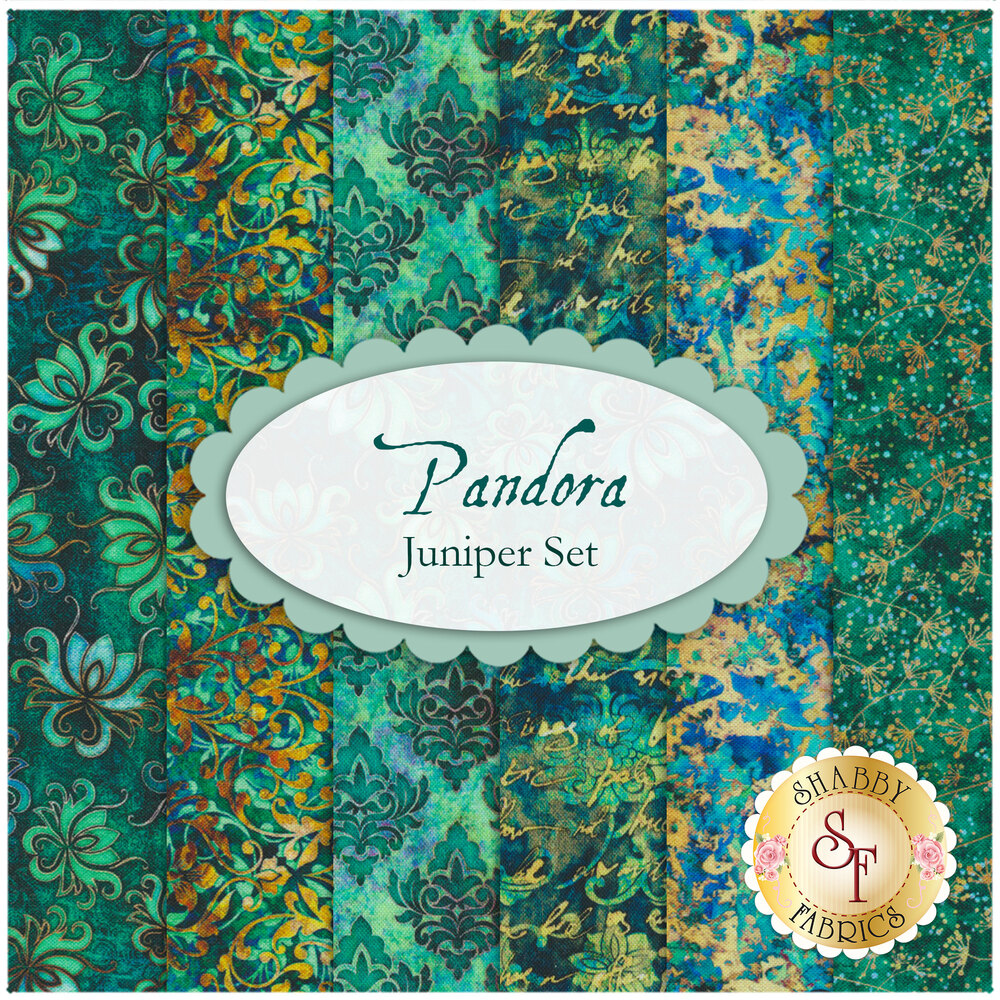 A collage showing all 6 fabrics included in the Pandora 6 FQ Set - Juniper | Shabby Fabrics