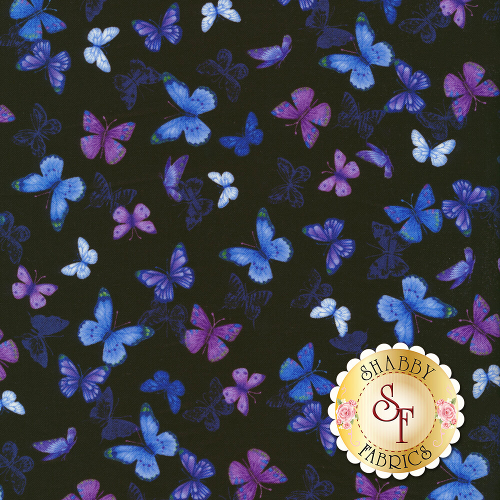 Purple and blue butterflies tossed on black | Shabby Fabrics