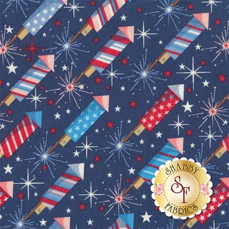 Parade On Main C6081-NAVY Navy Rockets by Samantha Walker for Riley Blake Designs
