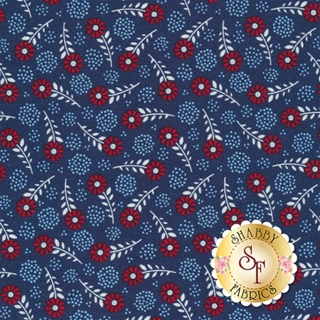 Parade On Main C6083-NAVY Navy Floral by Samantha Walker for Riley Blake Designs