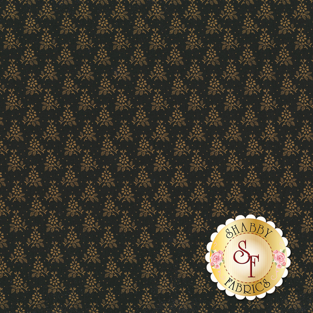 Small, repeated light tan flowers on a black background | Shabby Fabrics
