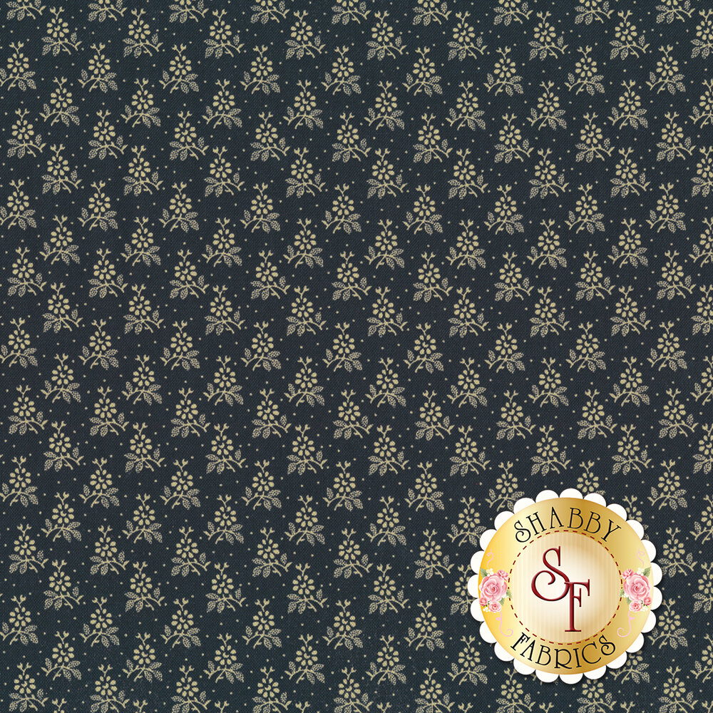 Dark blue fabric with repeated white flowers all over   Shabby Fabrics