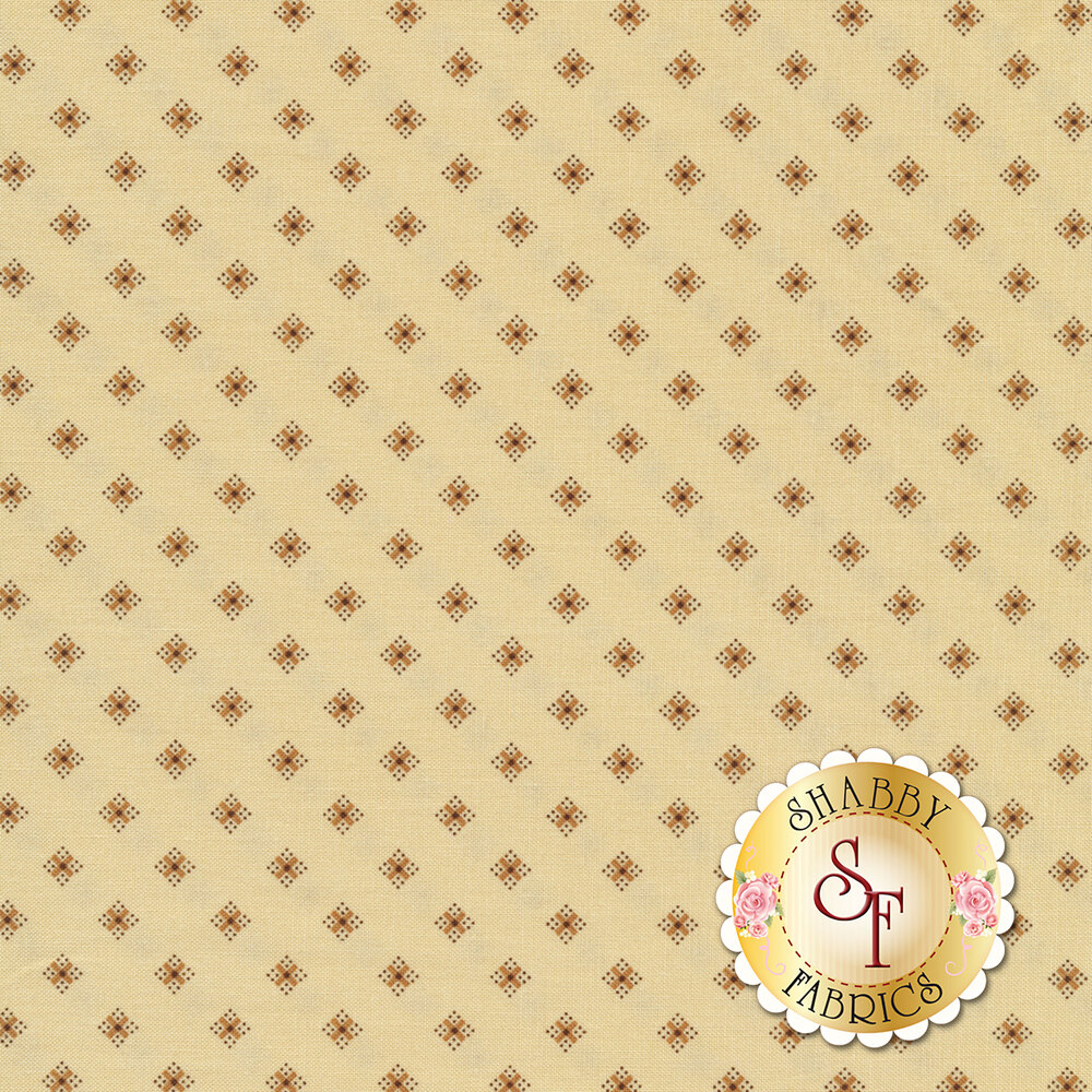 A tonal cream fabric with dark tan diamonds all over | Shabby Fabrics