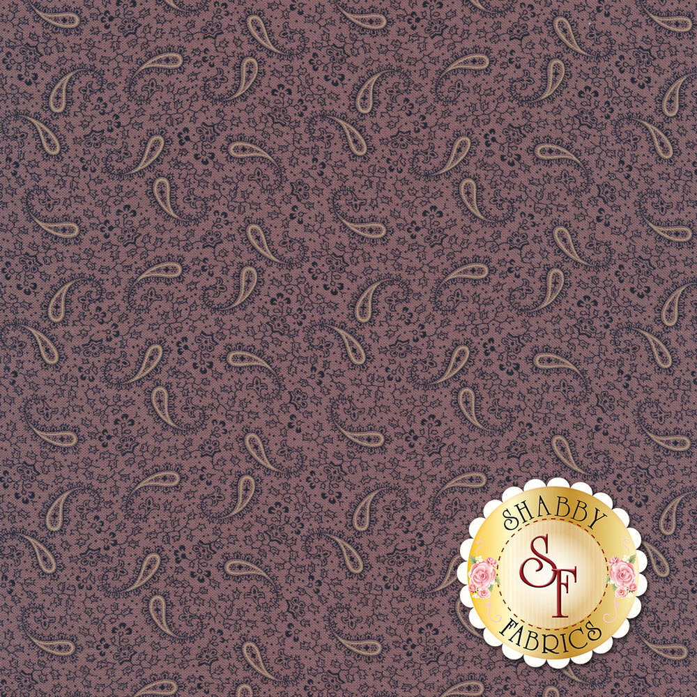 Tossed paisleys surrounded by tiny flowers on a purple background | Shabby Fabrics