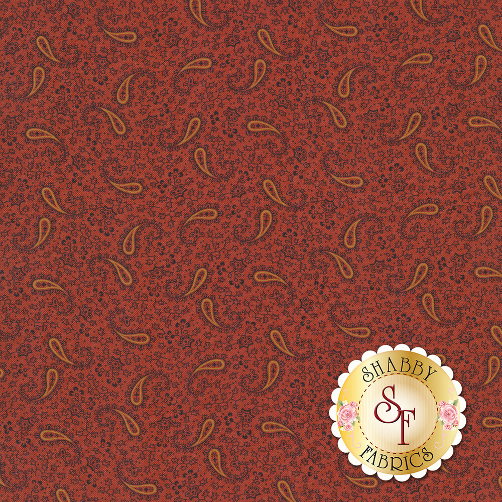Tossed paisleys surrounded by tiny flowers on a red background | Shabby Fabrics