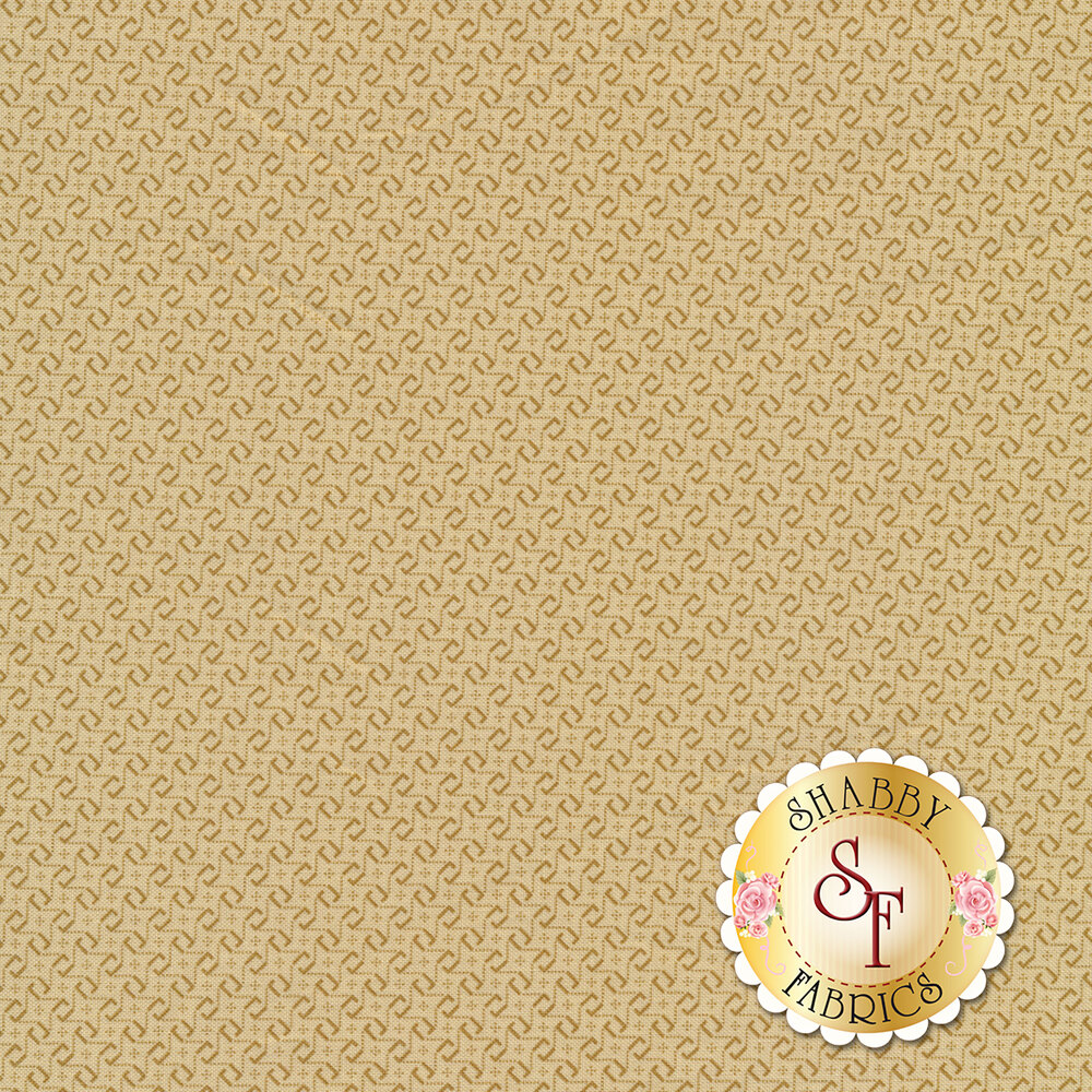 Repeated tonal L shapes forming star patterns on a light tan background | Shabby Fabrics