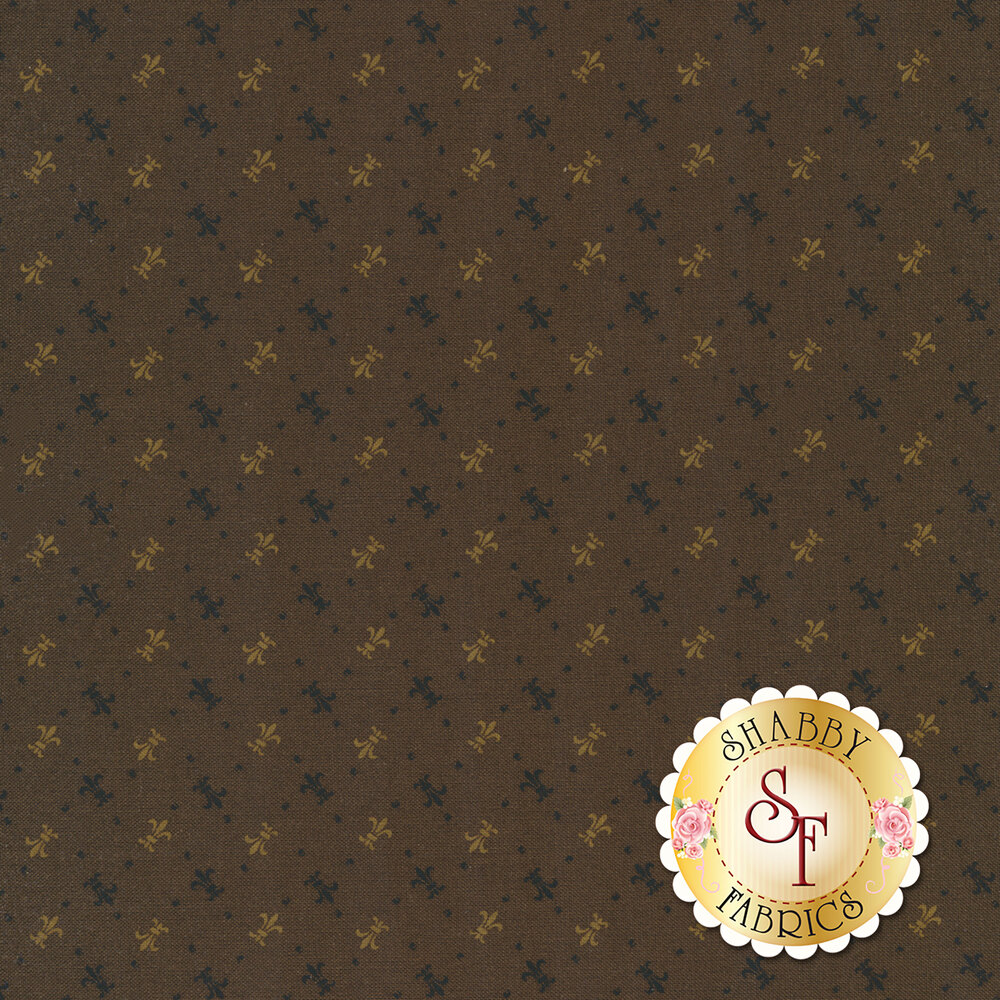Tossed alternating colored fleur de lis on a dark brown background | Shabby Fabrics