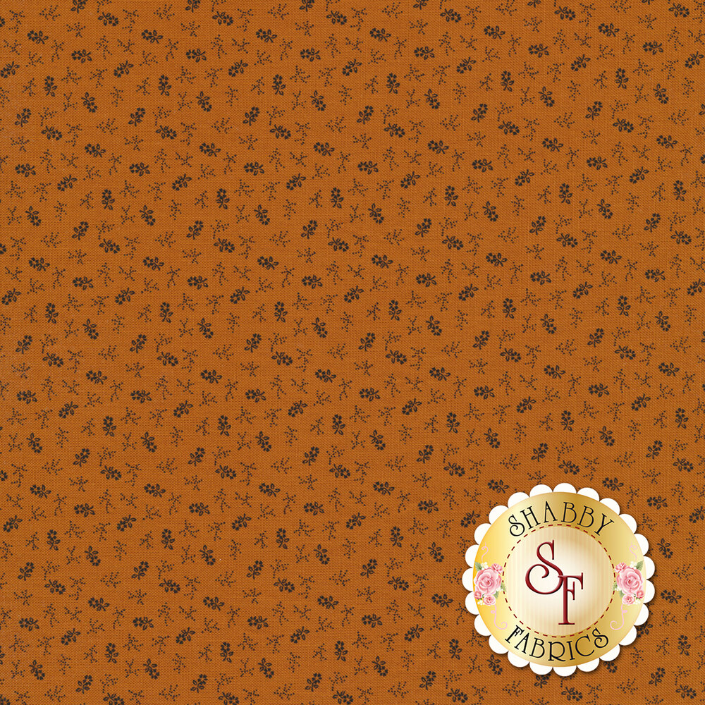 Tiny tossed grey flowers on an orange background | Shabby Fabrics