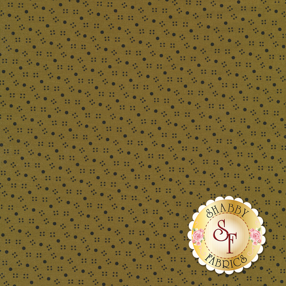 Large polka dots with squares of smaller dots surrounding them on a tan background | Shabby Fabrics