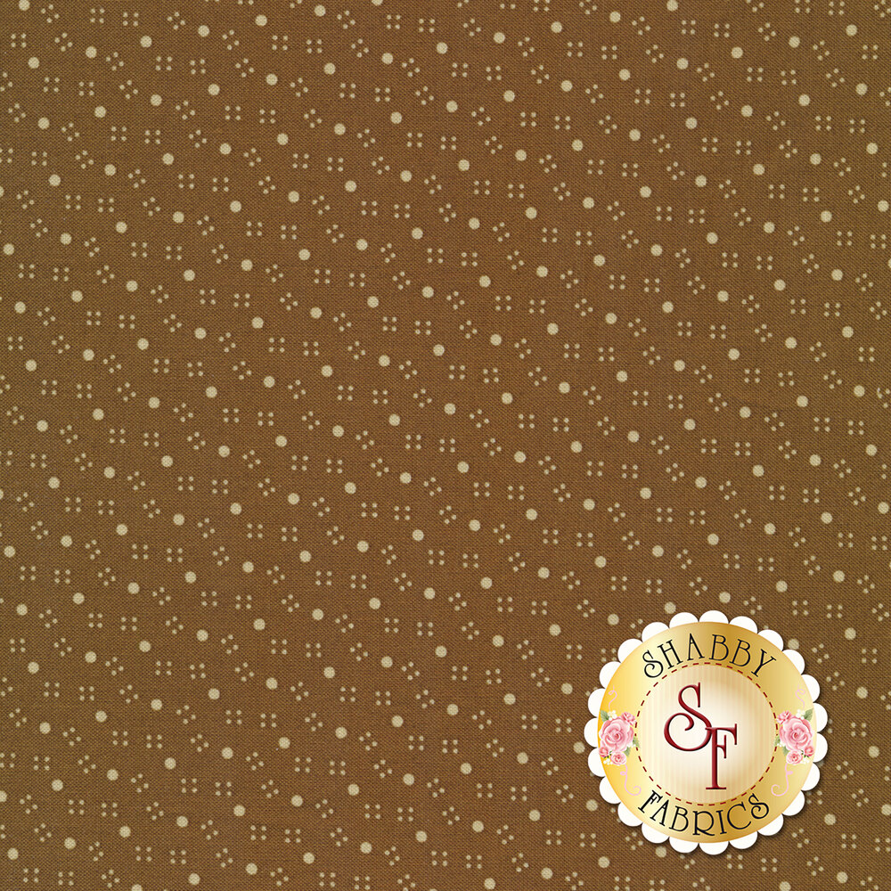 Large polka dots and smaller dots on a brown background | Shabby Fabrics