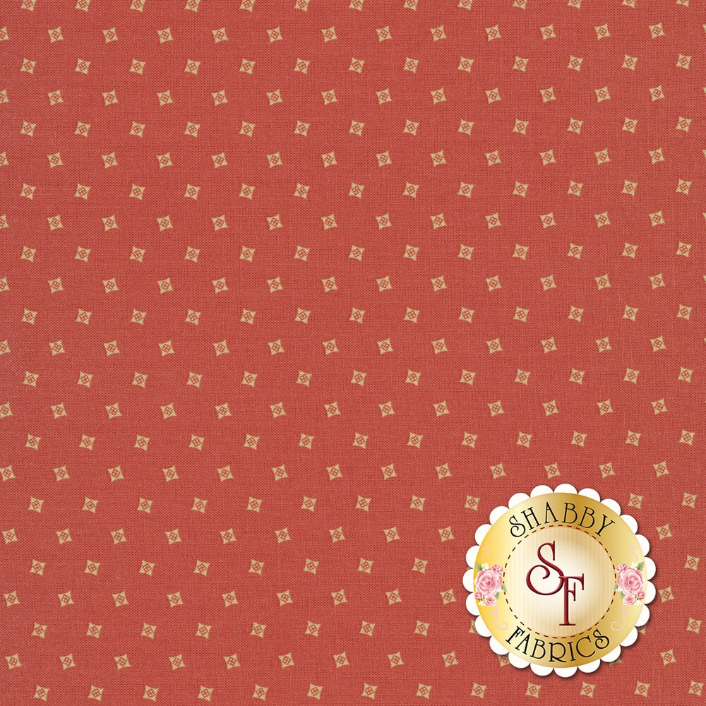 Tossed cream squares on a pink background | Shabby Fabrics