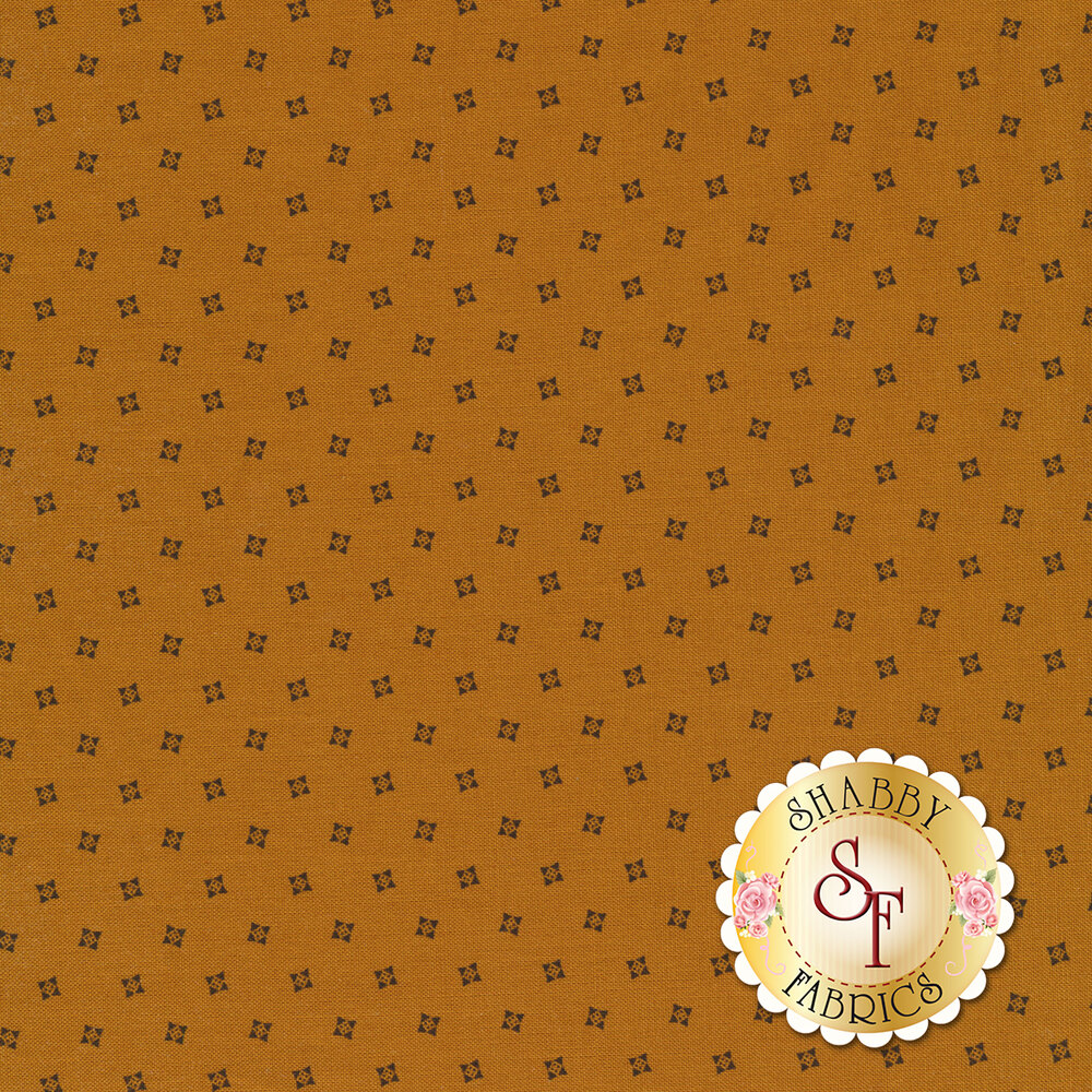 Dark tossed squares on a golden yellow background | Shabby Fabrics