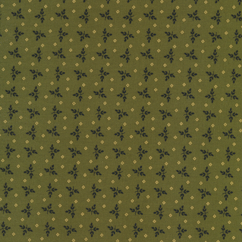Tossed sprigs surrounded by tonal diamonds on a olive green background | Shabby Fabrics