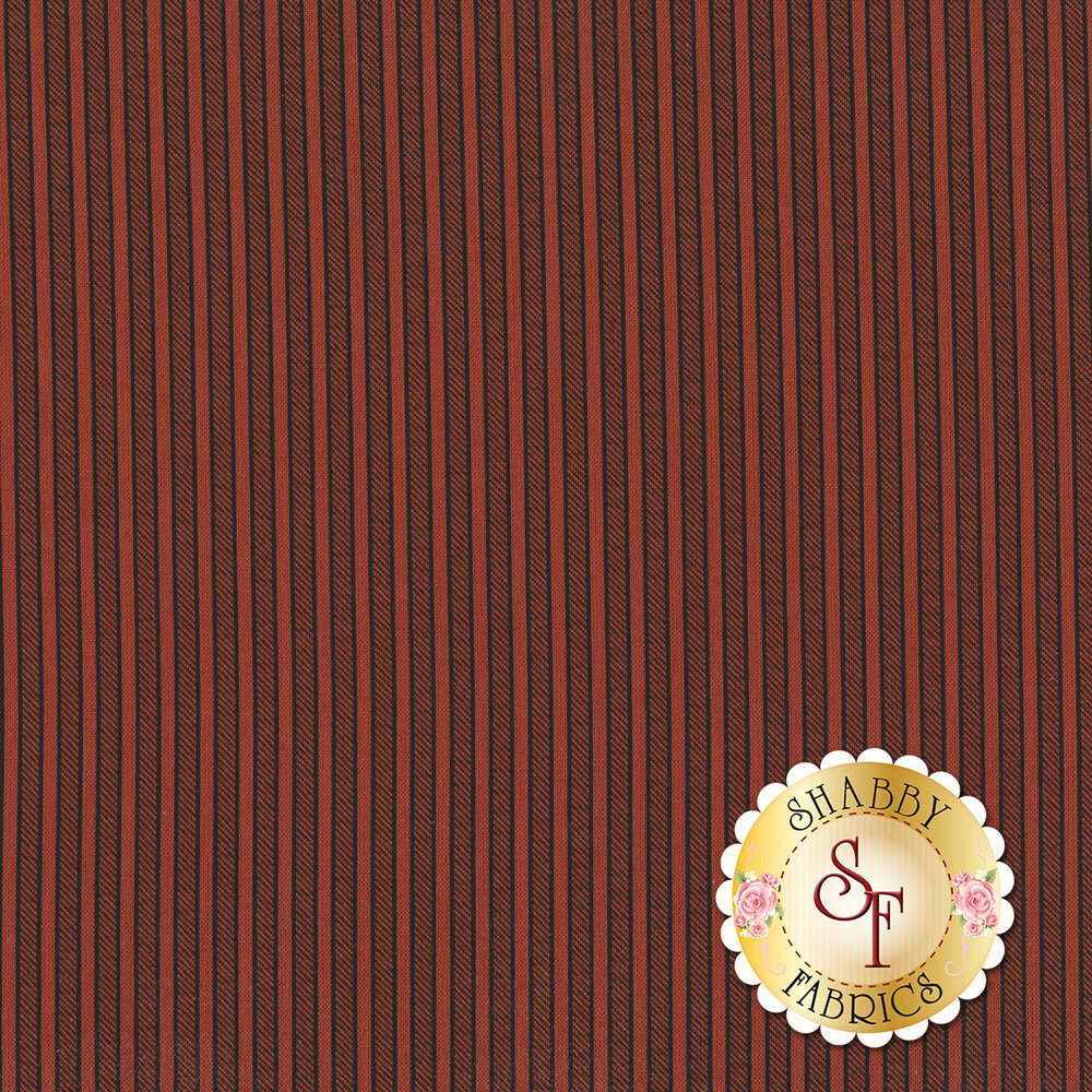 Black stripes on a red background | Shabby Fabrics