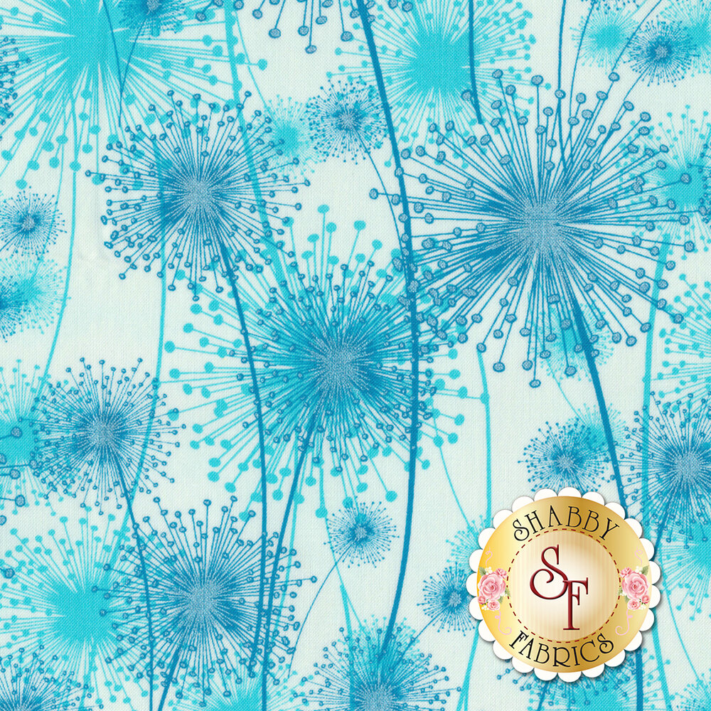 Aqua dandelions with pearlescent accents on white | Shabby Fabrics