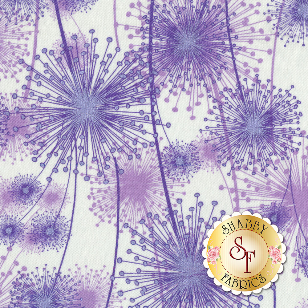 Purple dandelions with pearlescent accents on white | Shabby Fabrics