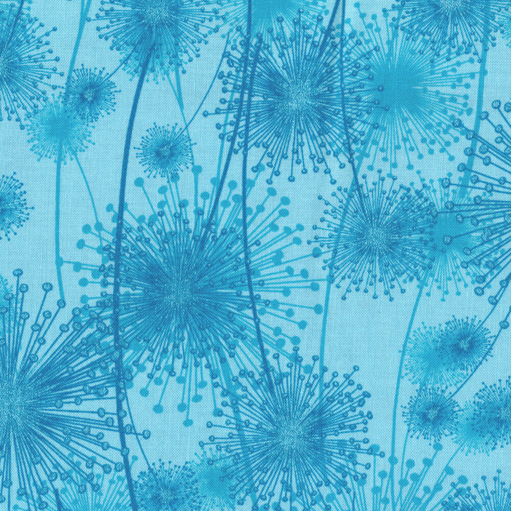 Tonal blue dandelions with pearlescent accents | Shabby Fabrics