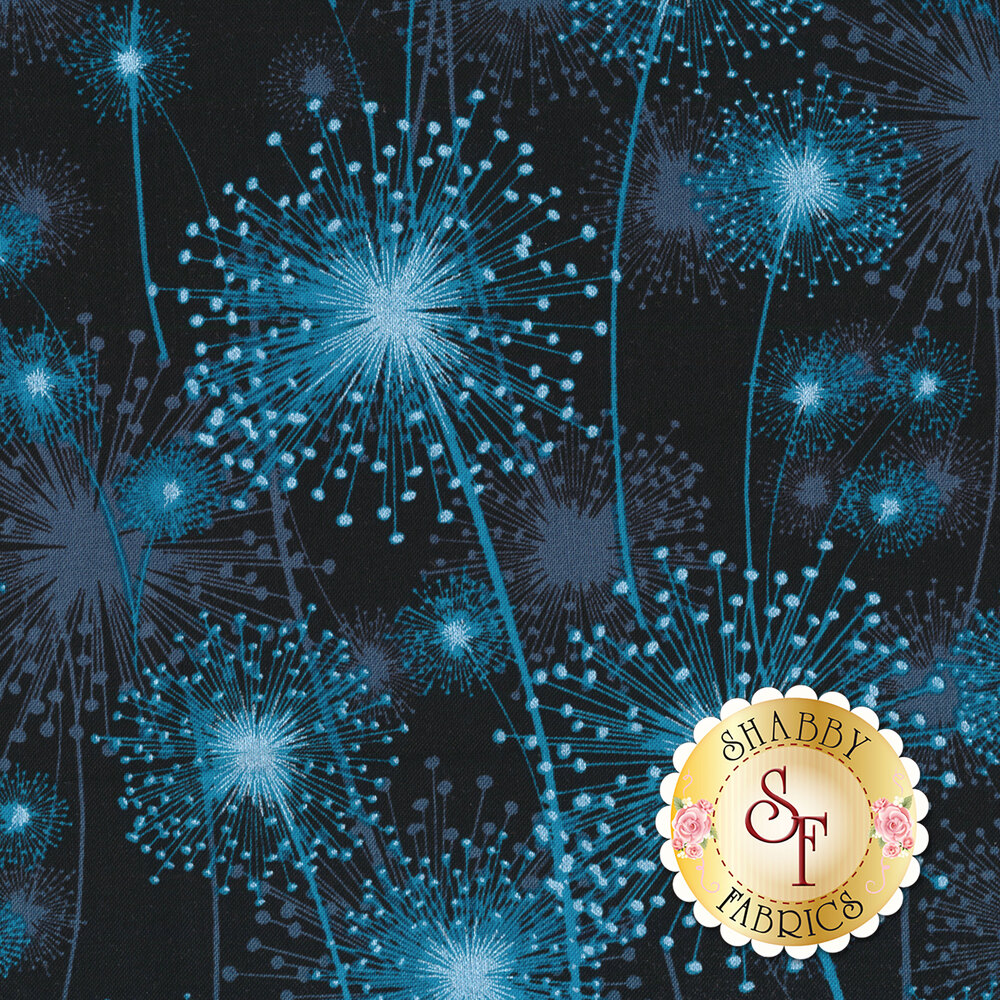 Blue dandelions with pearlescent accents on black | Shabby Fabrics