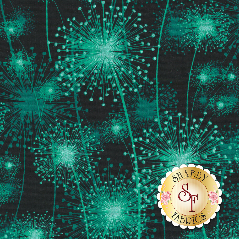 Teal/green dandelions with pearlescent accents on black | Shabby Fabrics