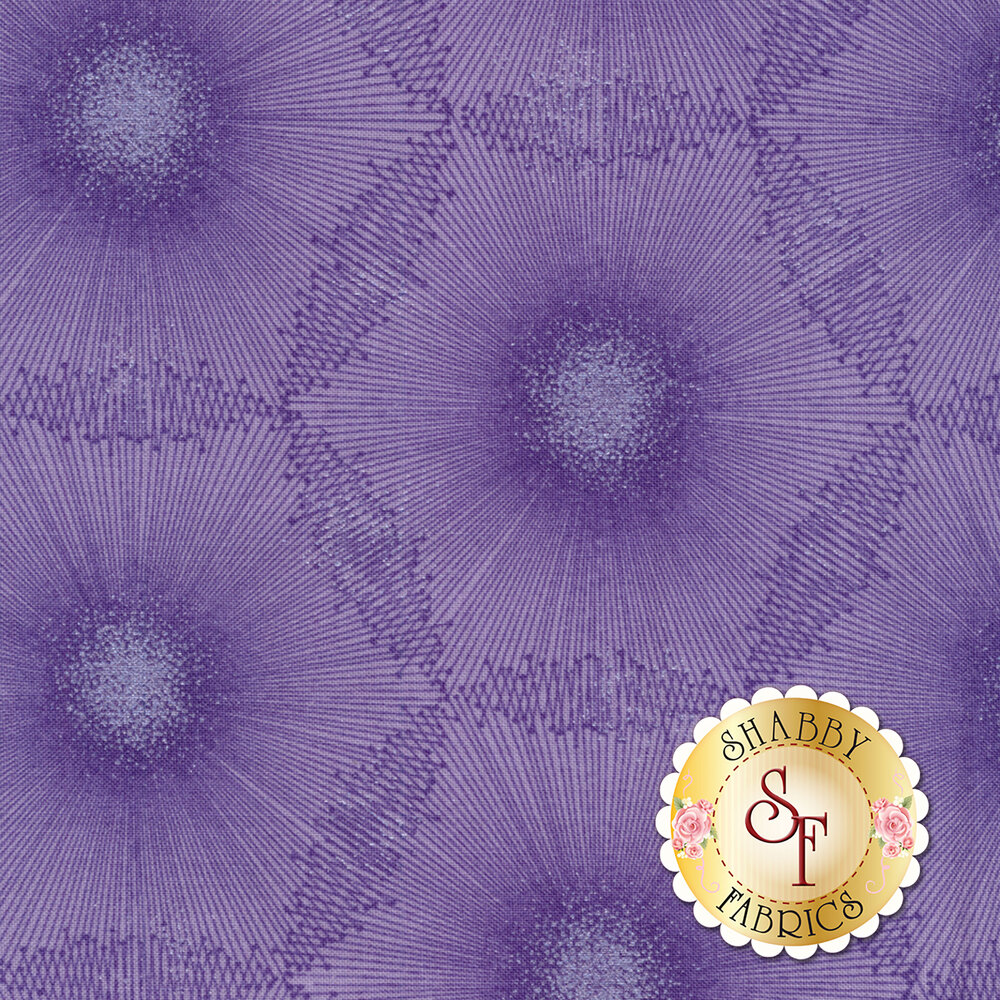 Tonal purple dandelion dot design with pearlescent accents | Shabby Fabrics
