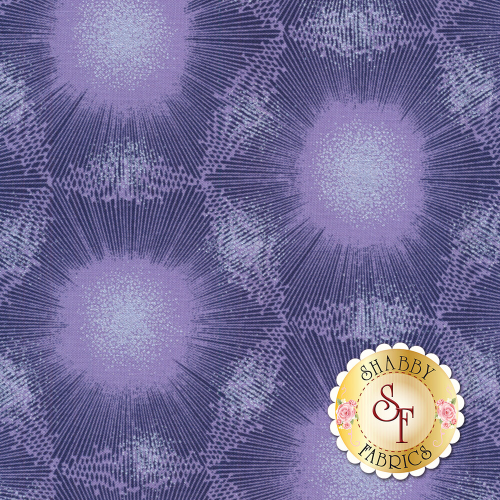 Dark purple dandelion dot design with pearlescent accents | Shabby Fabrics