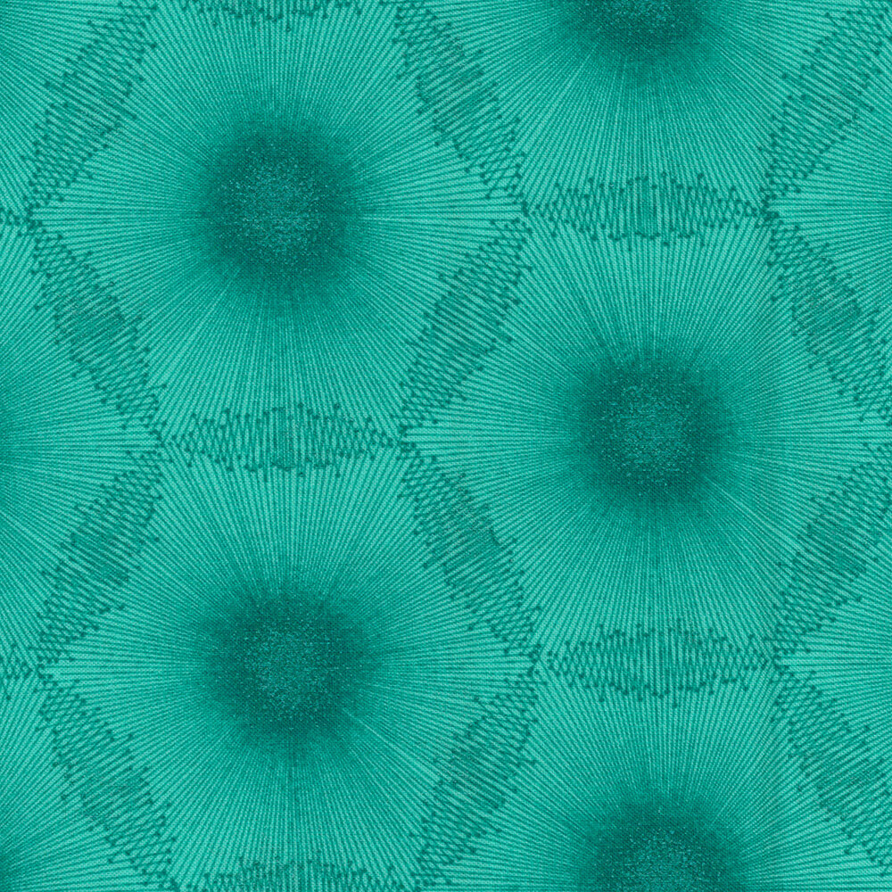Tonal turquoise dandelion dot design with pearlescent accents | Shabby Fabrics