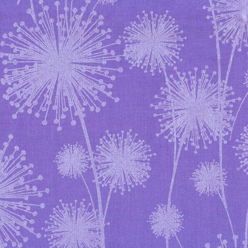 Pearlescent dandelions on purple   Shabby Fabrics