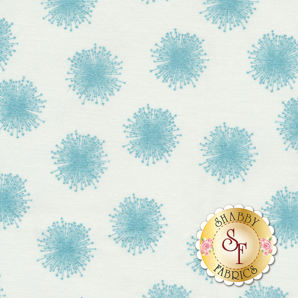 Floating teal dandelions with pearlescent accents on white | Shabby Fabrics