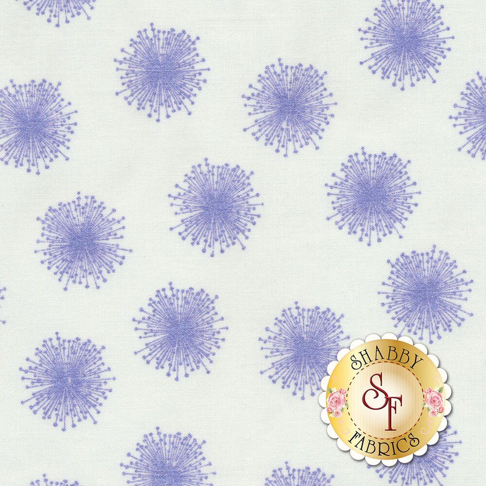 Floating purple dandelions with pearlescent accents on white | Shabby Fabrics