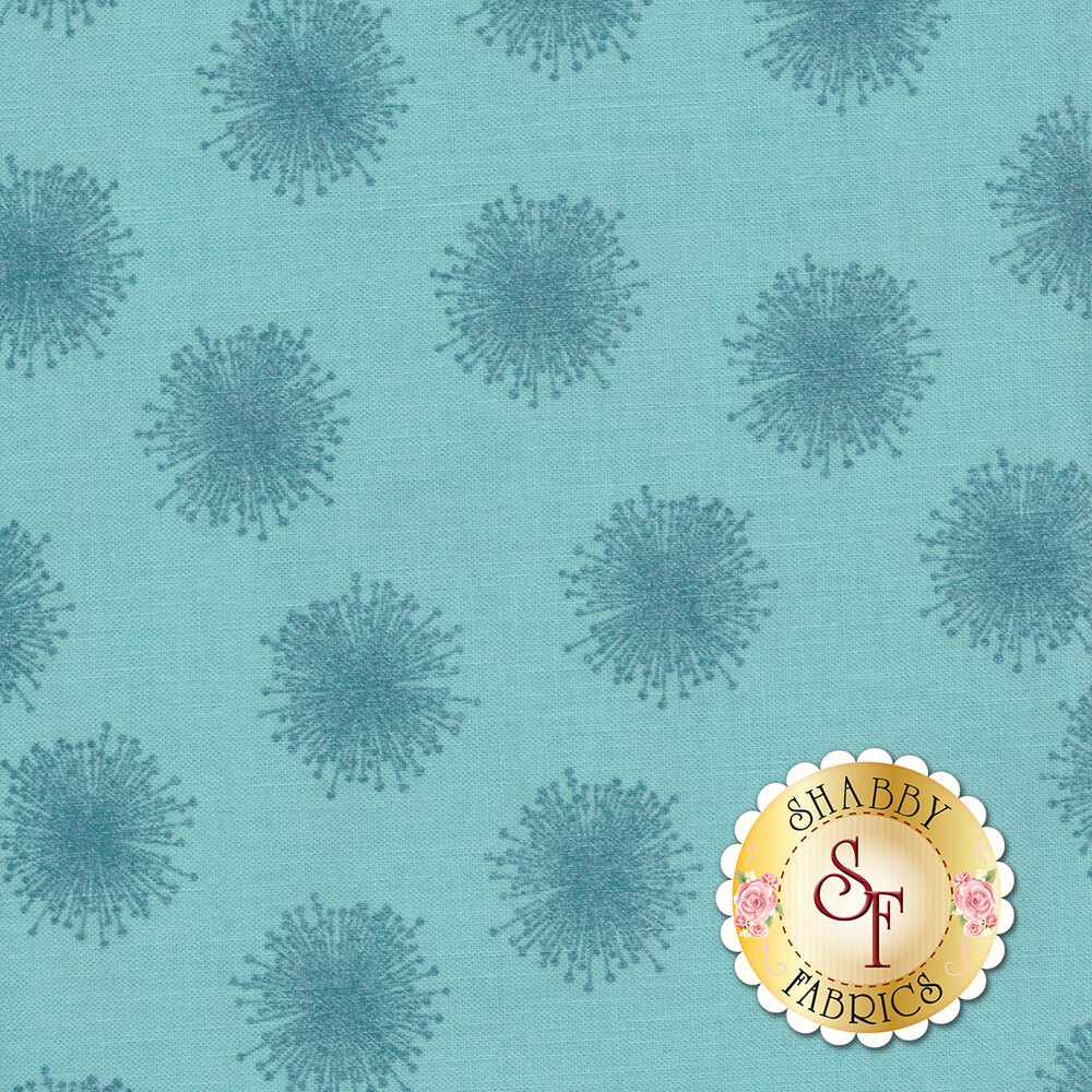 Tonal aqua floating dandelions with pearlescent accents | Shabby Fabrics