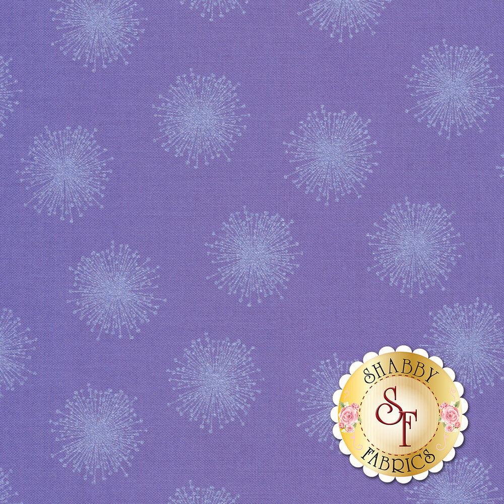 Pearlescent floating dandelions on purple | Shabby Fabrics
