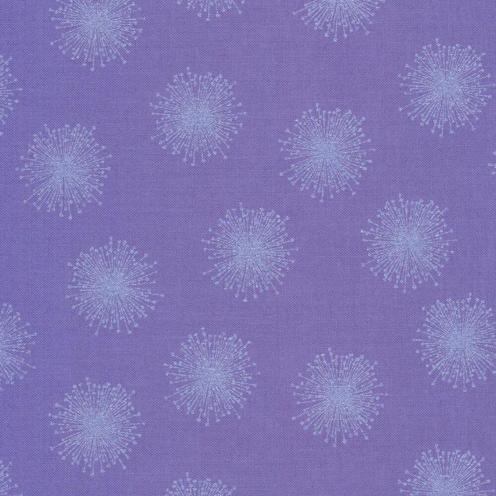 Pearlescent floating dandelions on purple | Shabby Fabrics