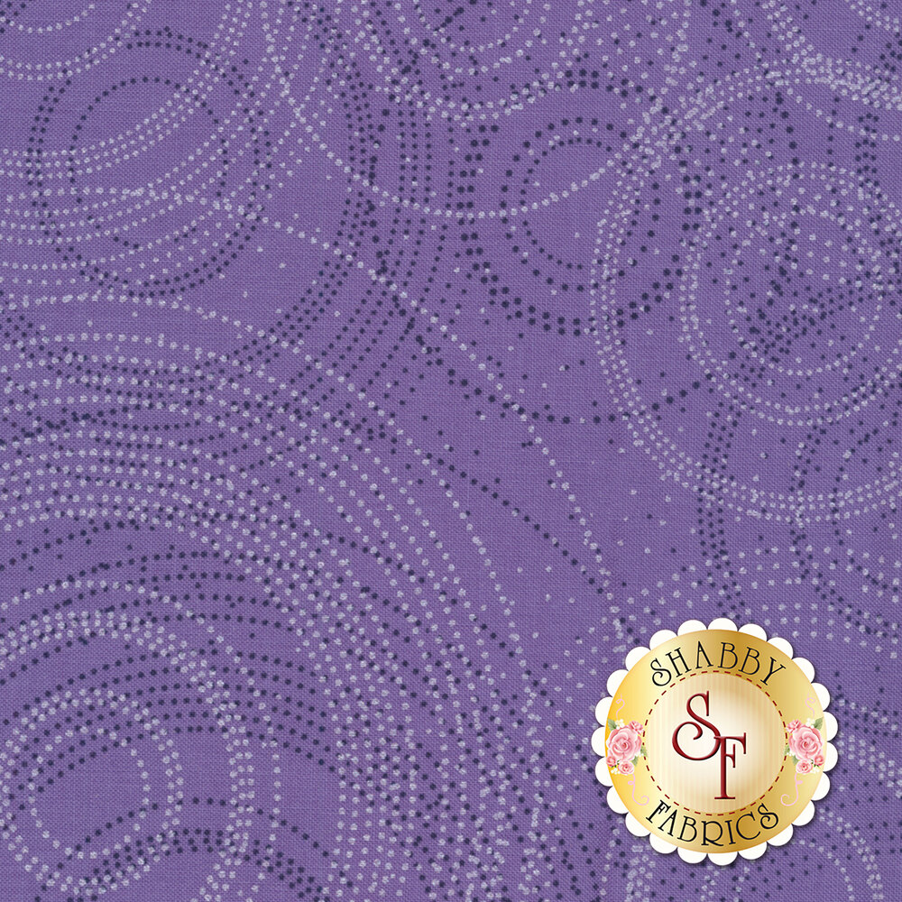 Dark dot circles and pearlescent dot circles on purple | Shabby Fabrics