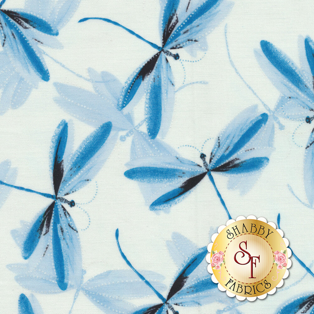 Blue dragonflies with pearlescent accents on white | Shabby Fabrics