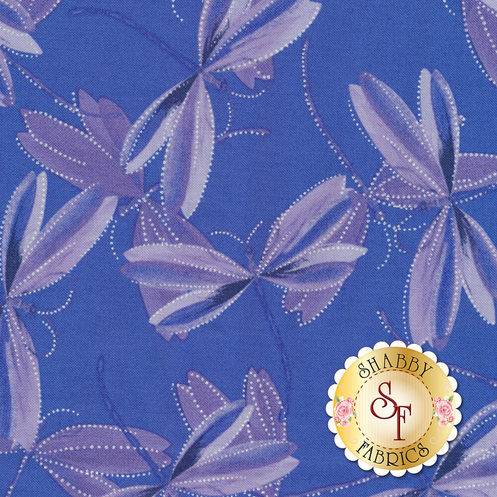 Purple dragonflies with pearlescent accents on royal blue/purple | Shabby Fabrics