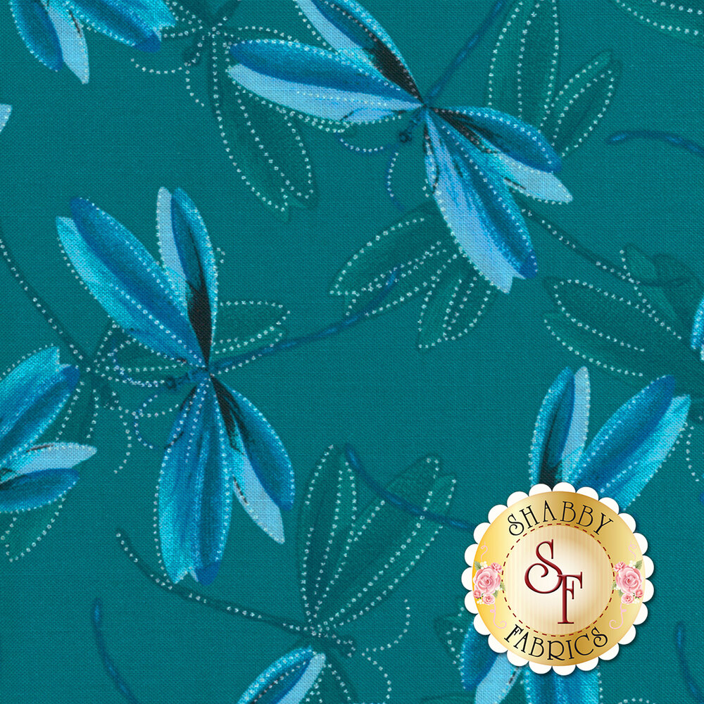 Blue dragonflies with pearlescent accents on dark teal   Shabby Fabrics