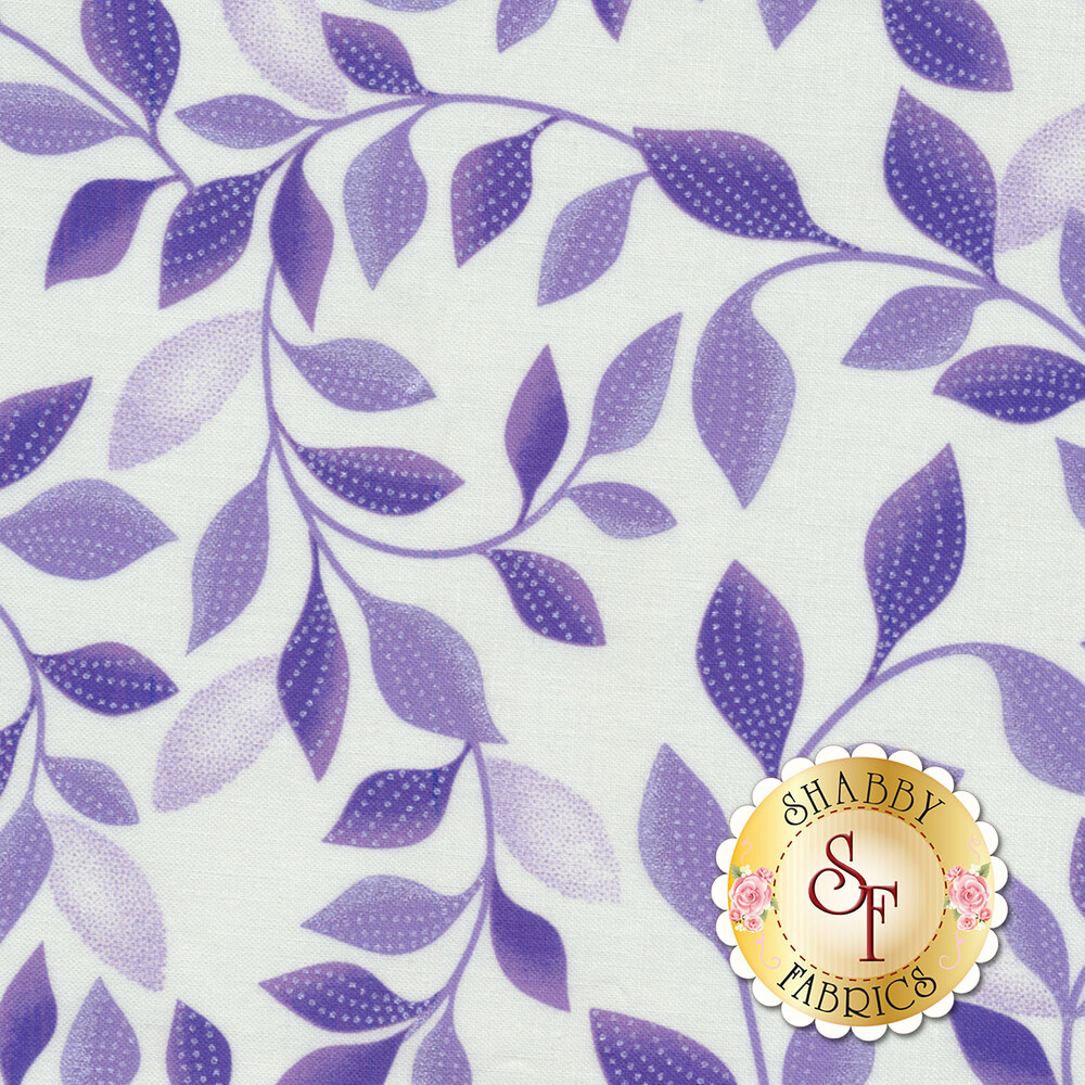Purple leaves with pearlescent accents on white | Shabby Fabrics