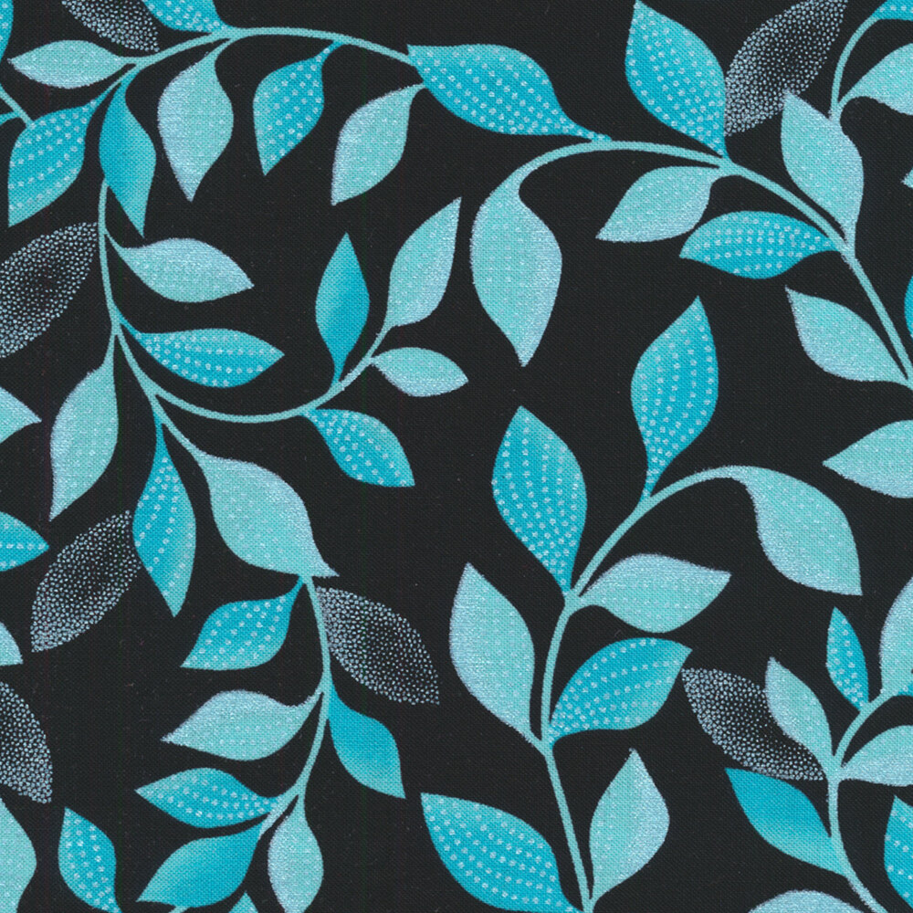 Light blue leaves on black | Shabby Fabrics