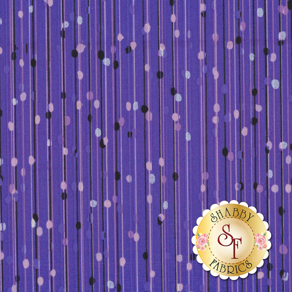 Pearlescent stripes and dots/purple stripes and dots on purple | Shabby Fabrics