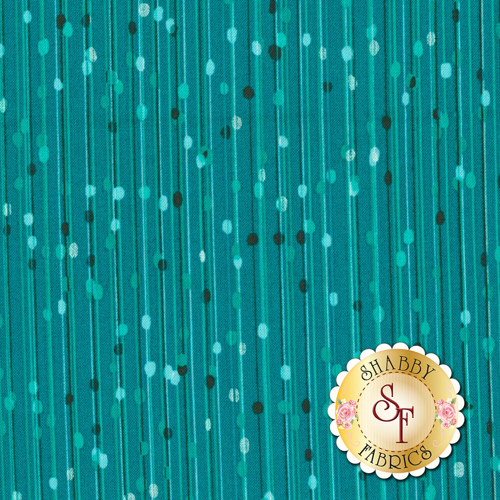 Tonal stripes with dots and pearlescent stripes with dots on aqua | Shabby Fabrics
