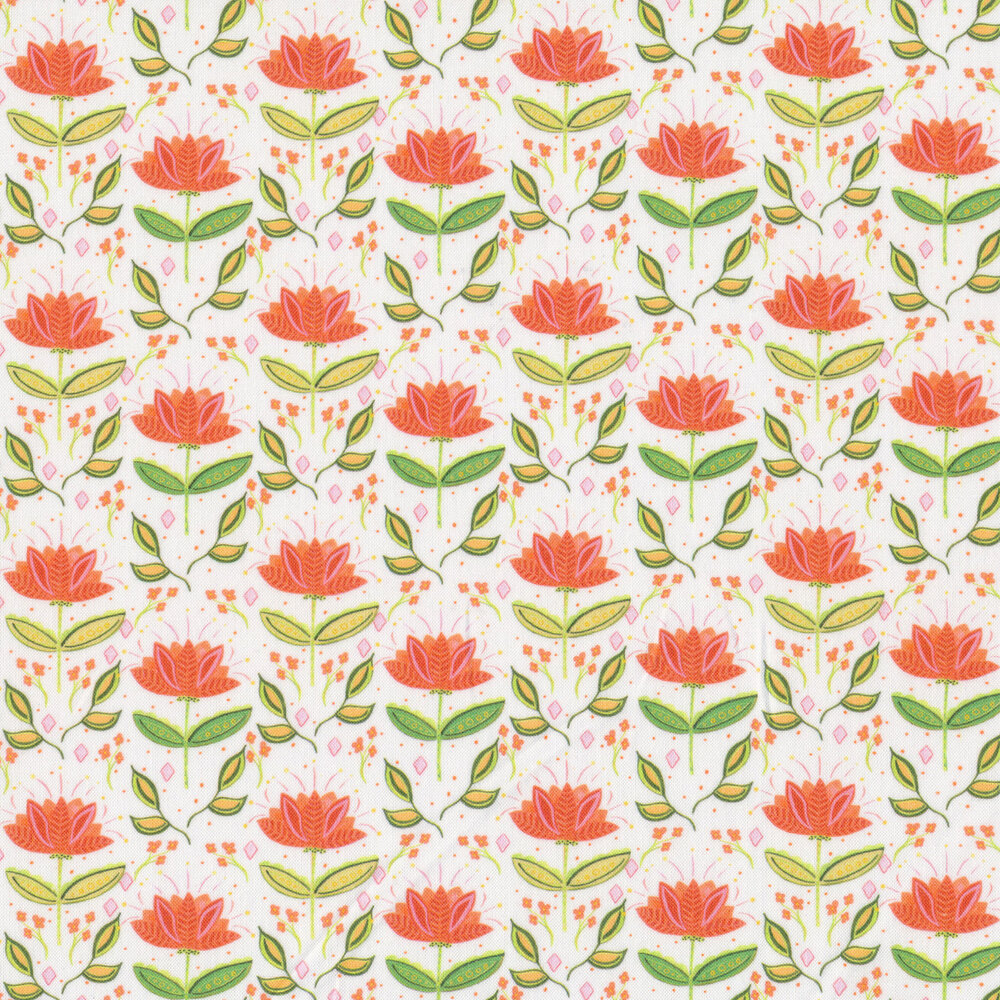 Bright red flowers with yellow and green stems on a white background | Shabby Fabrics