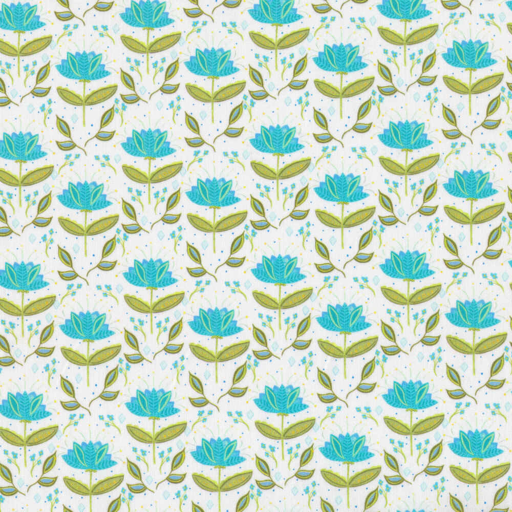 Bright blue flowers with green stems on a white background   Shabby Fabrics
